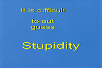 100775101 It Is Difficult to Out Guess Stupidity